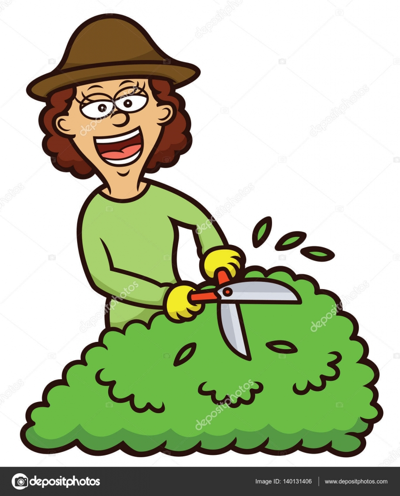 Jardinage Tuinieren Woman Gardening Cartoon Illustration Isolated On White Stock
