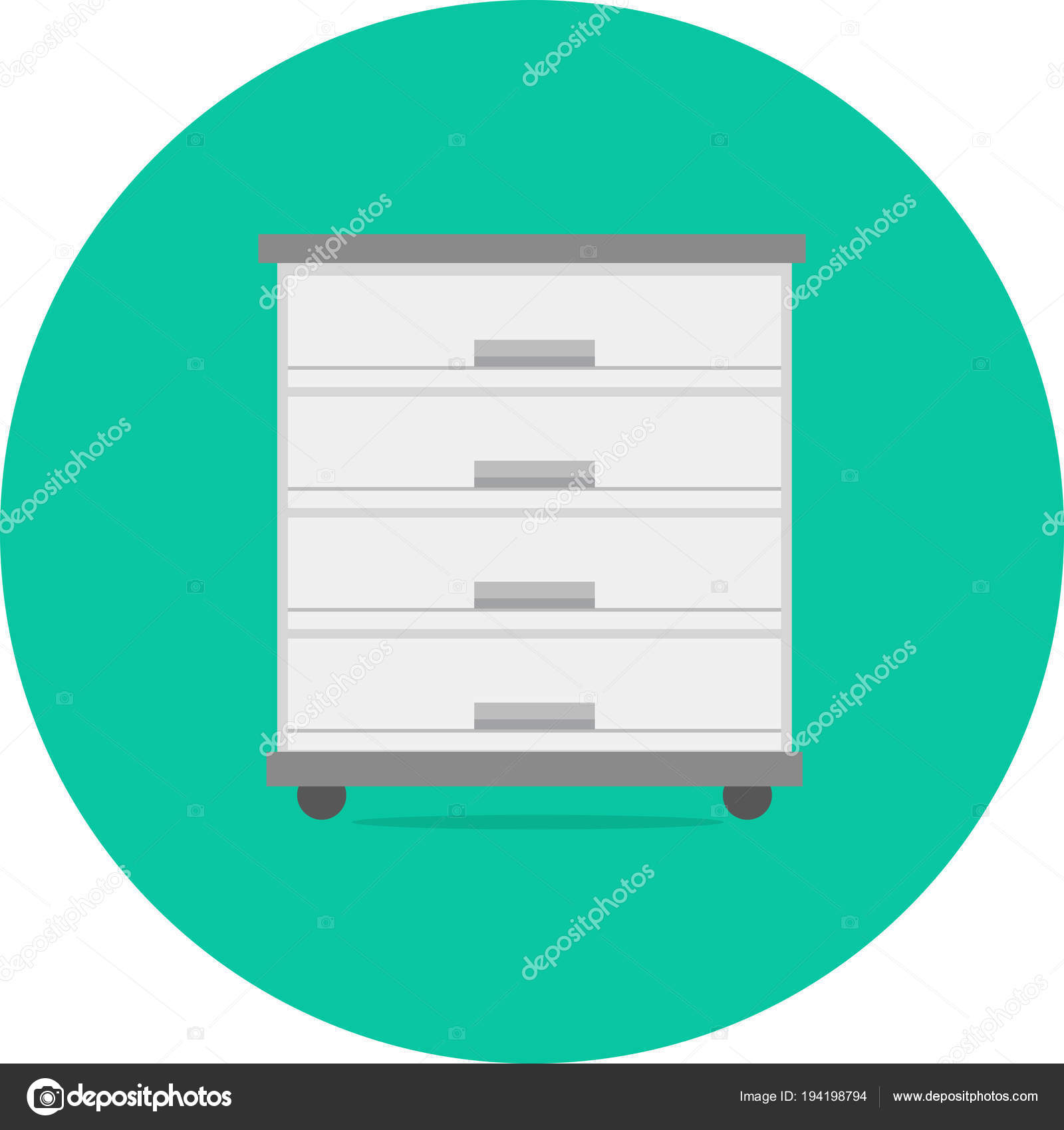 Filing Cabinet Icon Flat Cabinet Icon Design Set Great Flat Icons Style Long Shadow Stock