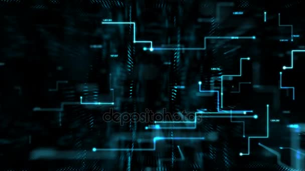 Animation Abstract Dark Background Moving Dot Line Metaphor Cyber