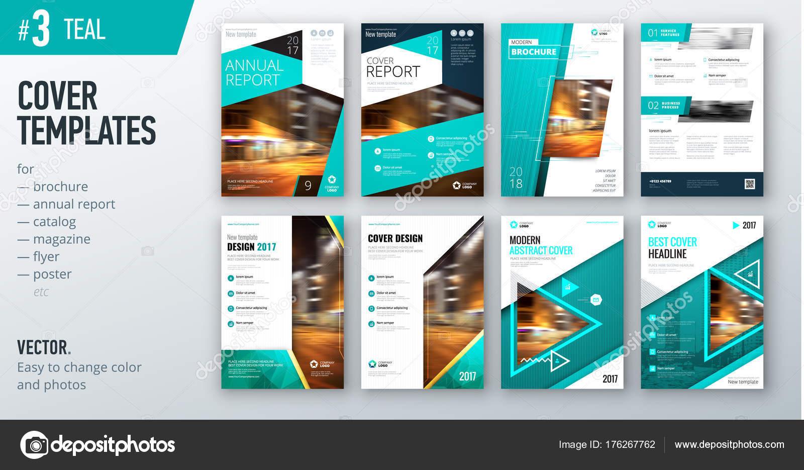 Set Business Cover Design Templates Bright Azure Color Brochures