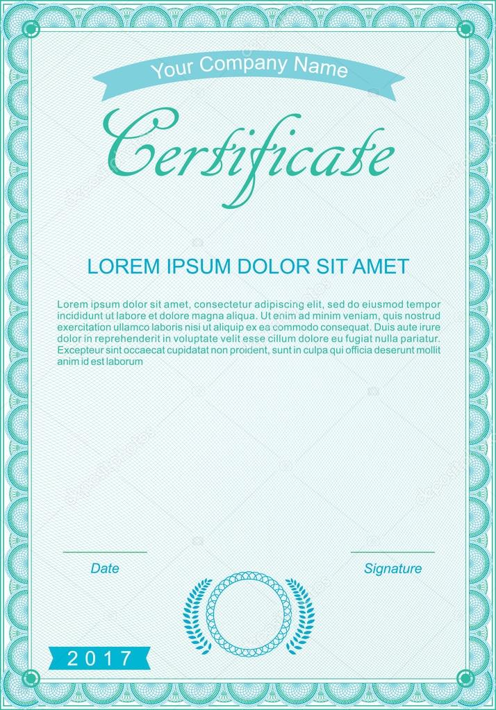 Blue official certificate Vector template \u2014 Stock Vector © Olga_968