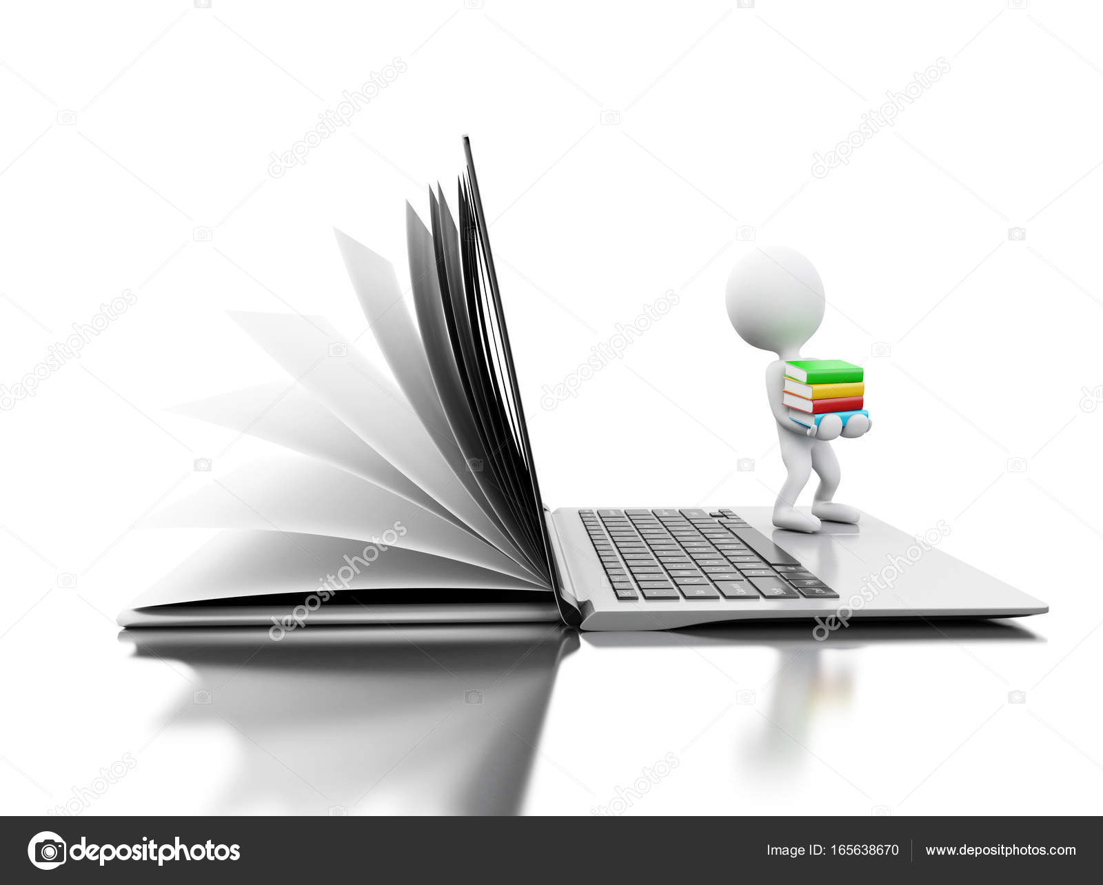 3d Open 3d Open Book Turns Into An Open Laptop With White People Stock