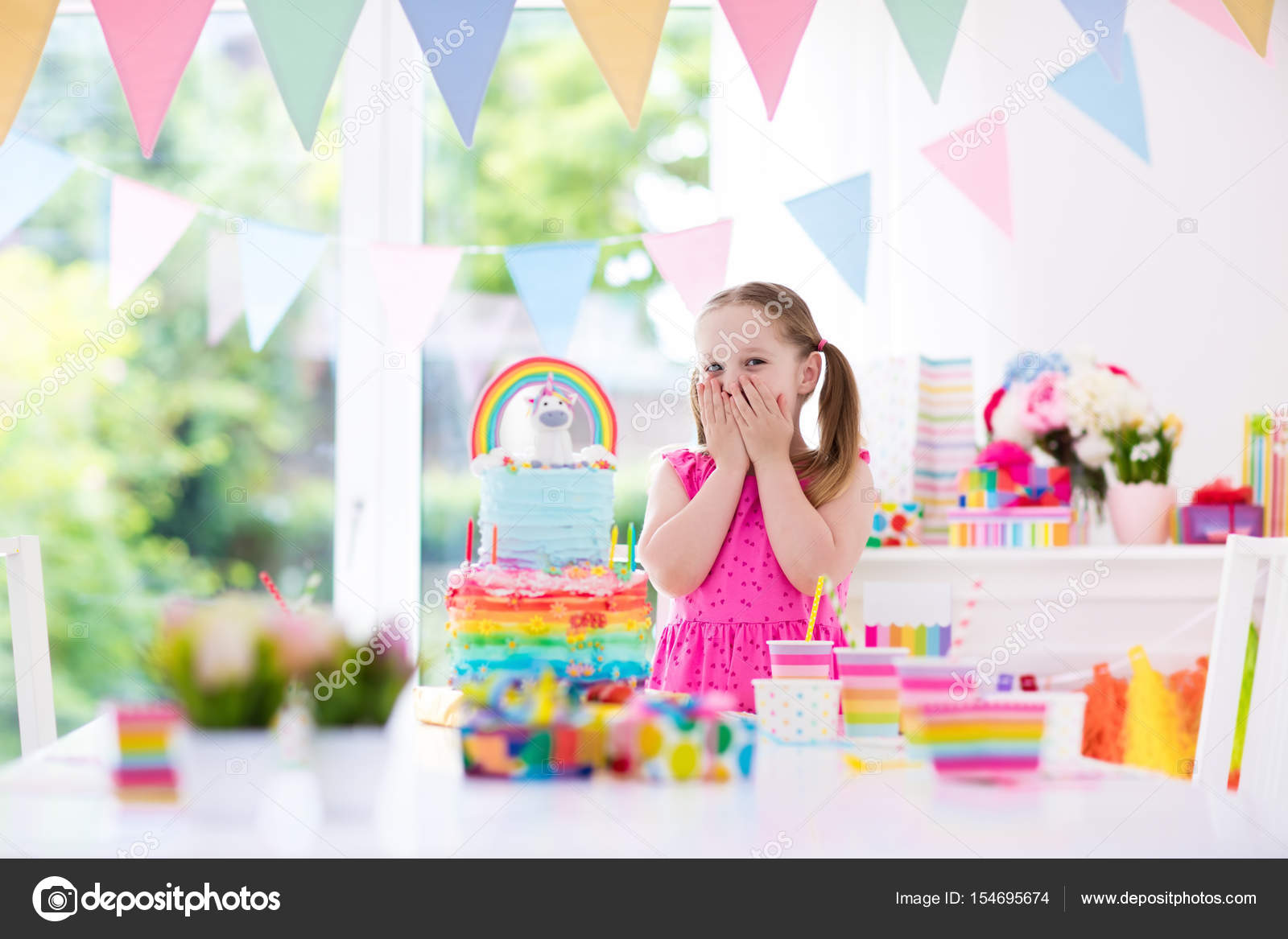 Little Kid Birthday Party Kids Birthday Party Little Girl With Cake Stock Photo