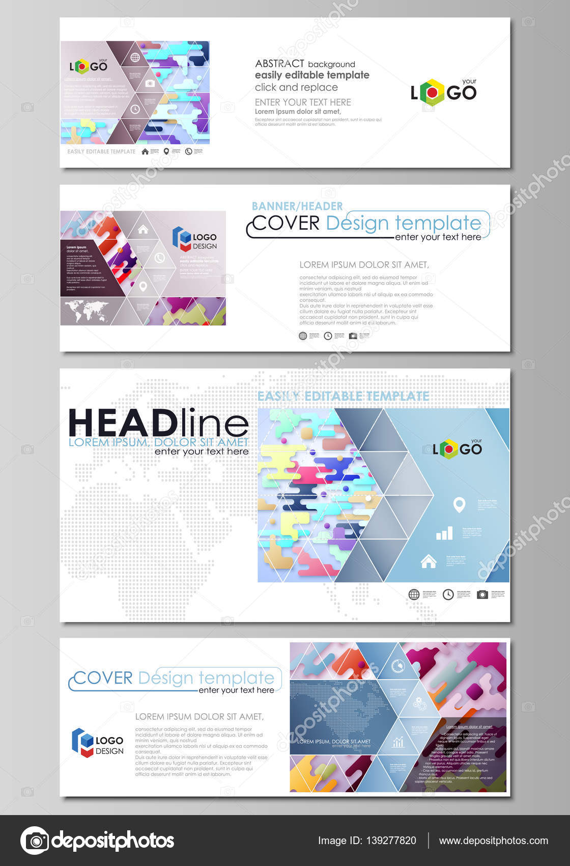 Social media and email headers set, modern banners Abstract design