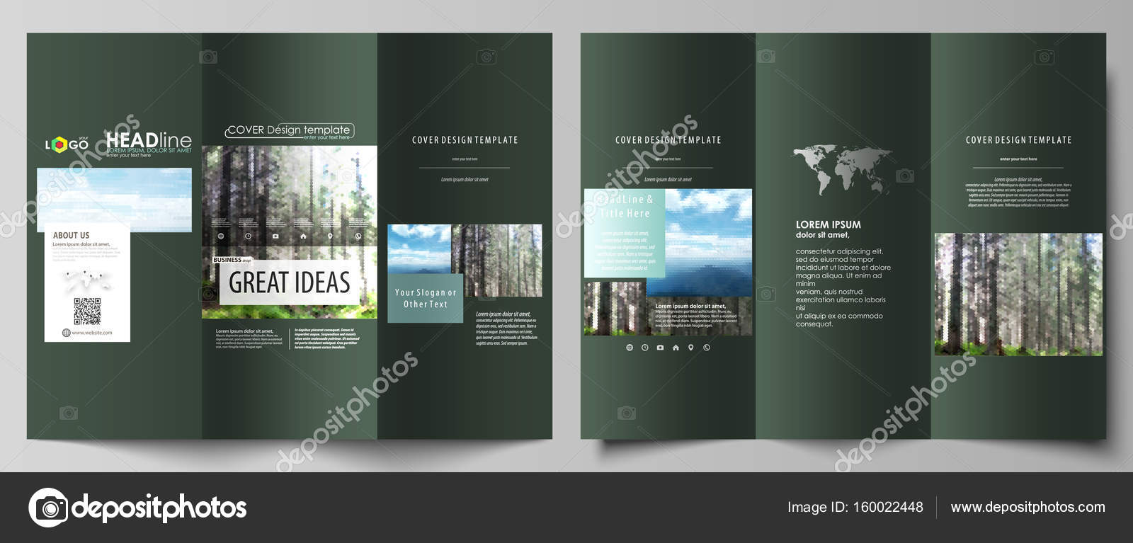 Tri-fold brochure templates on both sides Abstract vector layout in