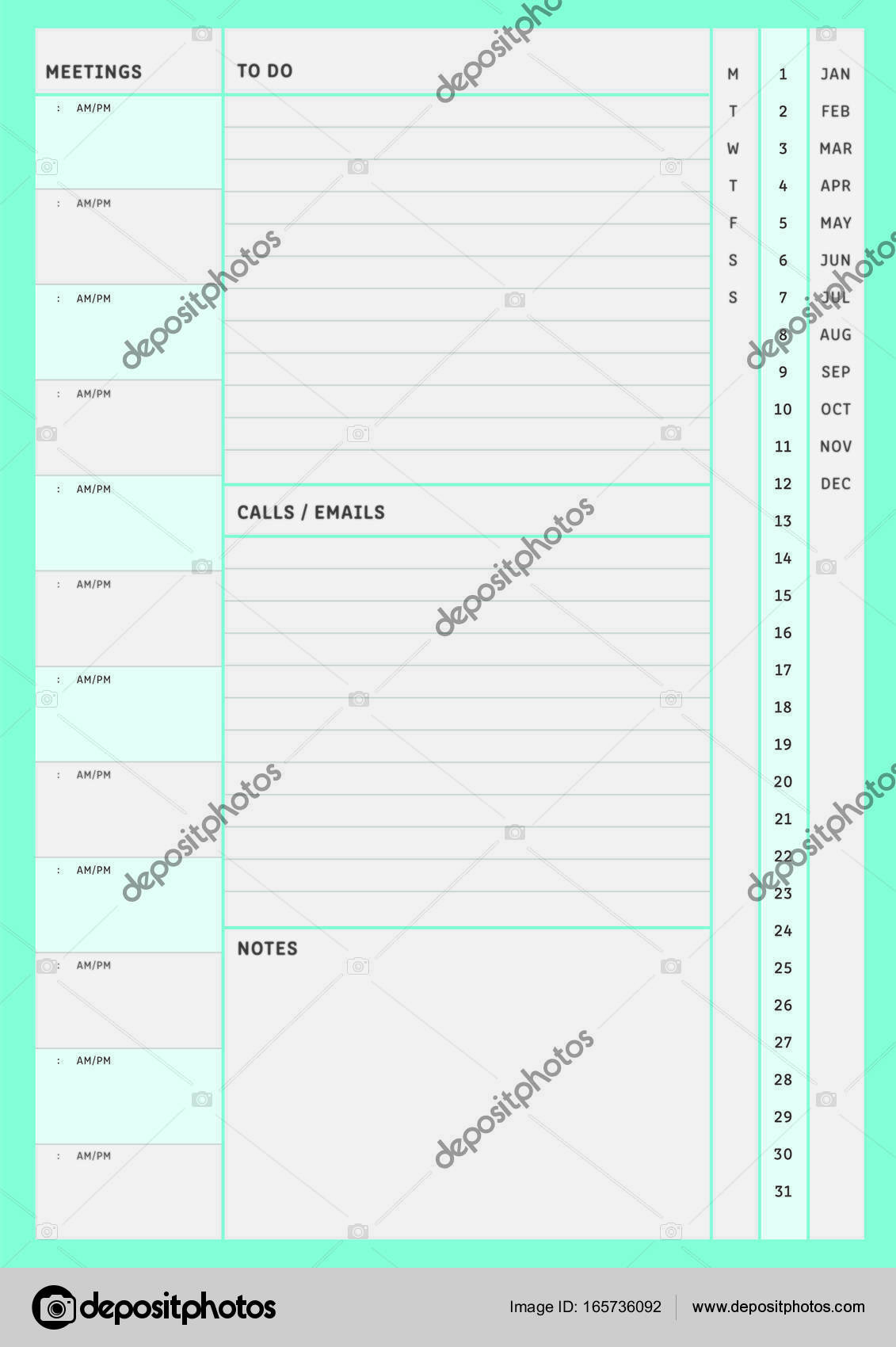 Daily planner template layout \u2014 Stock Vector © vectorfusionart - daily planning template