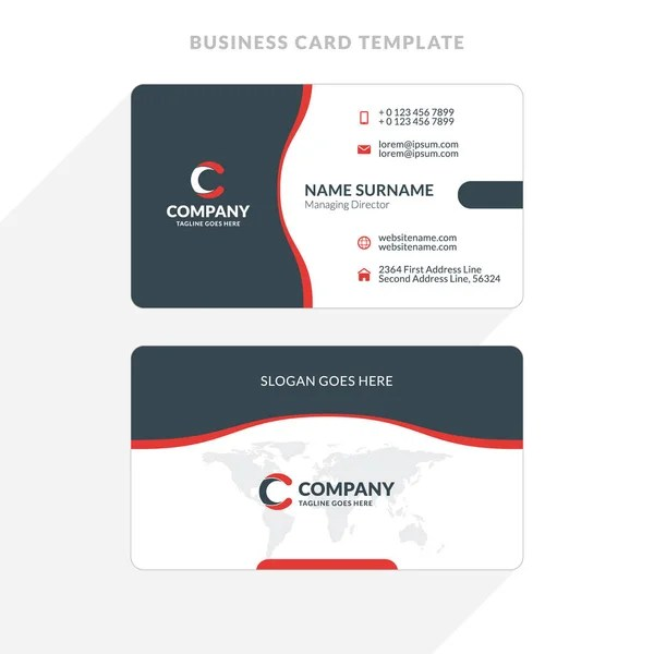 Double-sided Business Card Template with Abstract Red and Black