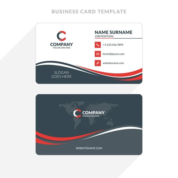 Vertical Double-sided Business Card Template Blue and Black Colors