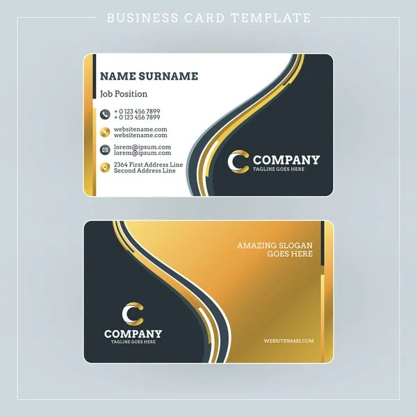 Double-sided Business Card Template with Abstract Blue and Black