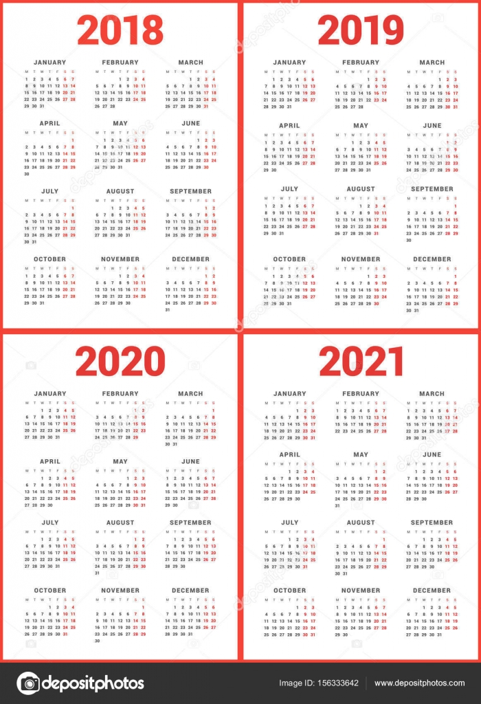 Set of calendars for 2018, 2019, 2020, 2021 years Week Starts
