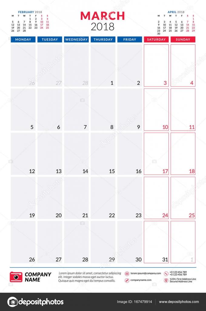 March 2018 Calendar planner design template Portrait orientation