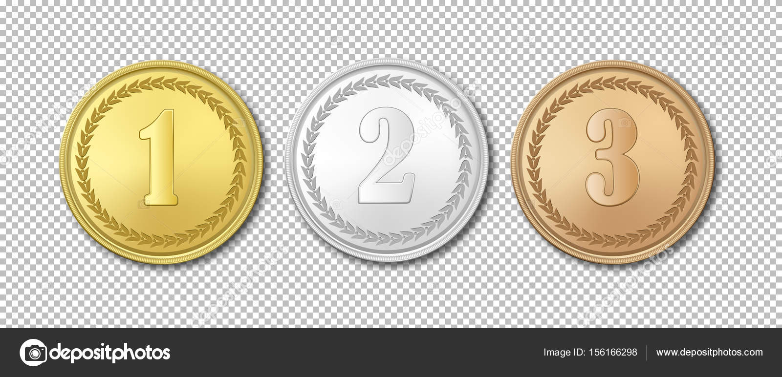 Realistic vector gold, silver and bronze award medals icon set
