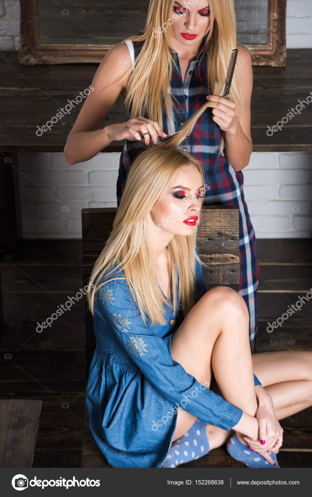 Salon Erotic Pretty Sexy Girls In Beauty Salon Hairdresser Makes