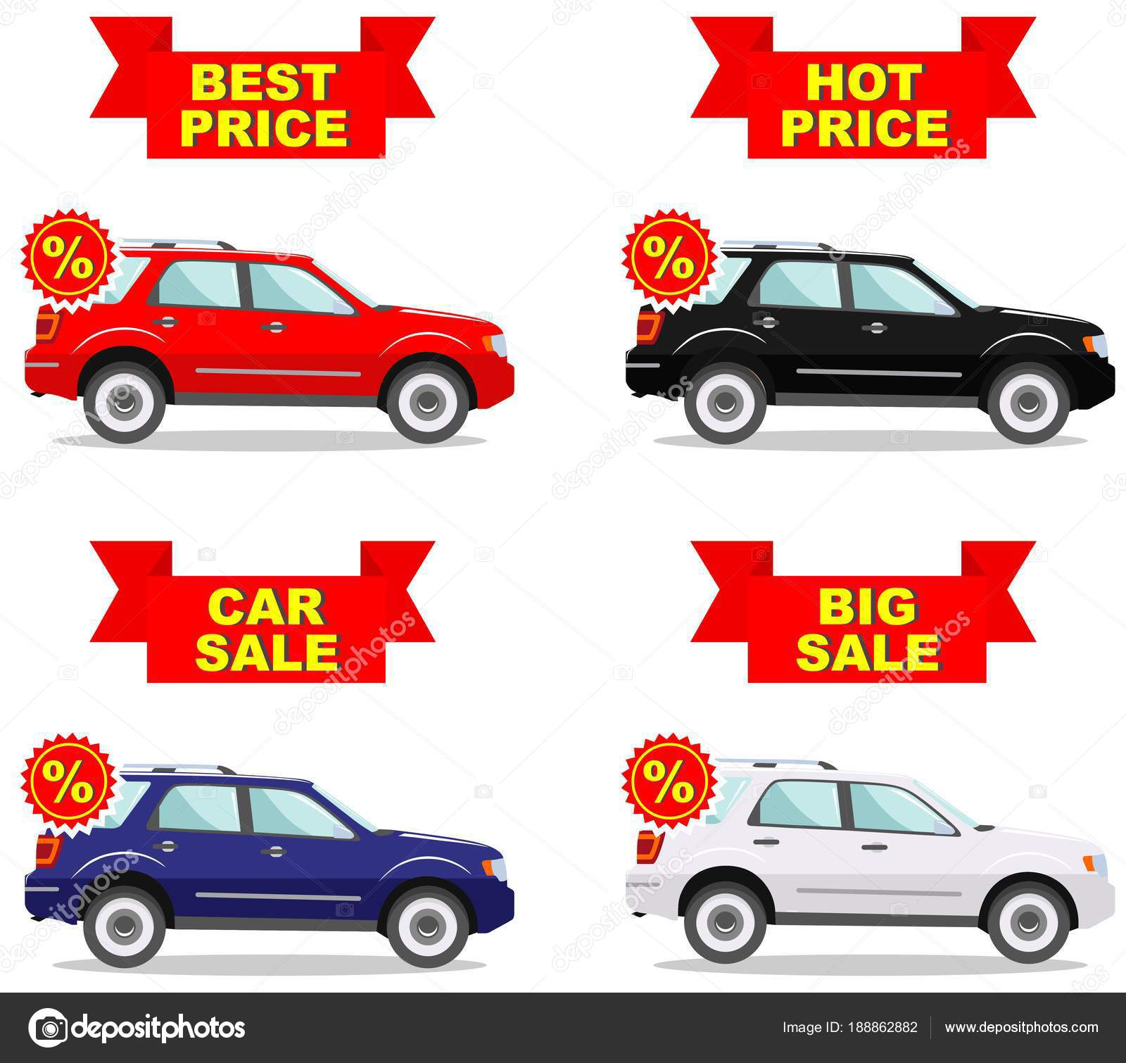 Cars Price Car Showroom Big Sale Hot Price Set Of Discount Icons For Cars