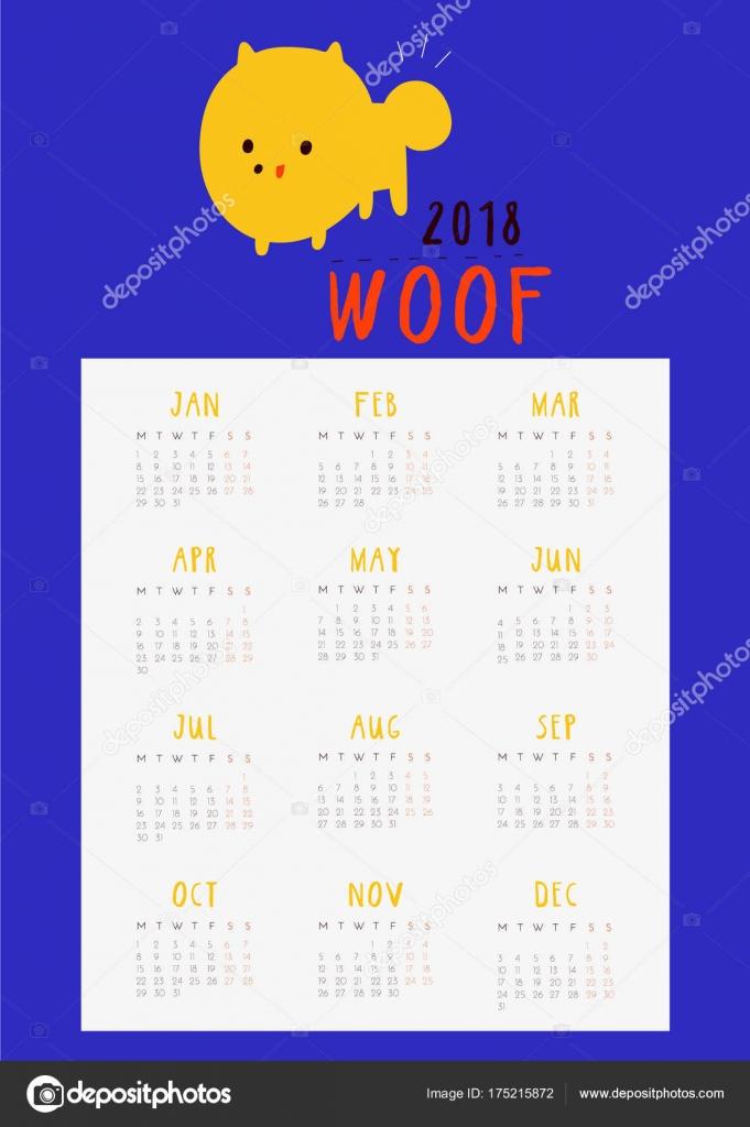 Super Cute Fun Calendar 2018 Year Dog Monthly Calendar Printable