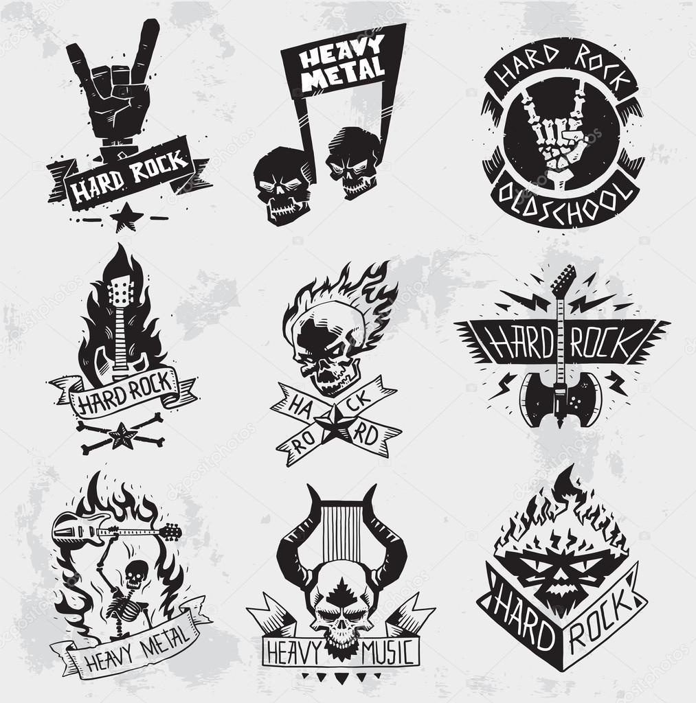 On Heavy Metal Heavy Metal Rock Badges Vector Set Stock Vector Adekvat