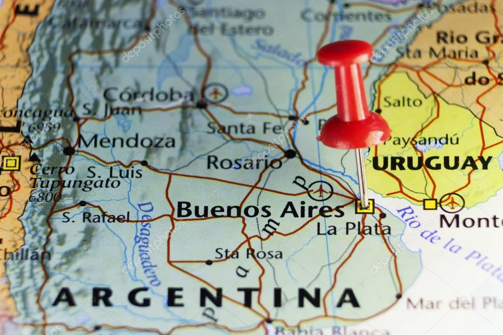Argentina capitol pinned on map \u2014 Stock Photo © llucky78 #129328750