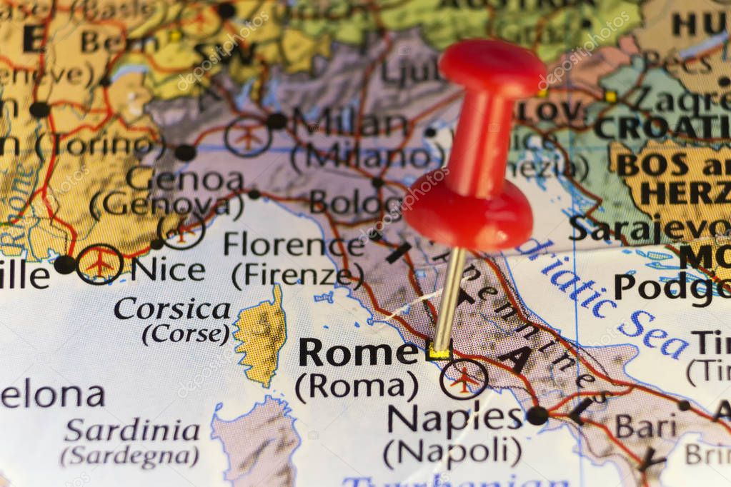 Destination map, Rome Italy, pinned map \u2014 Stock Photo © llucky78