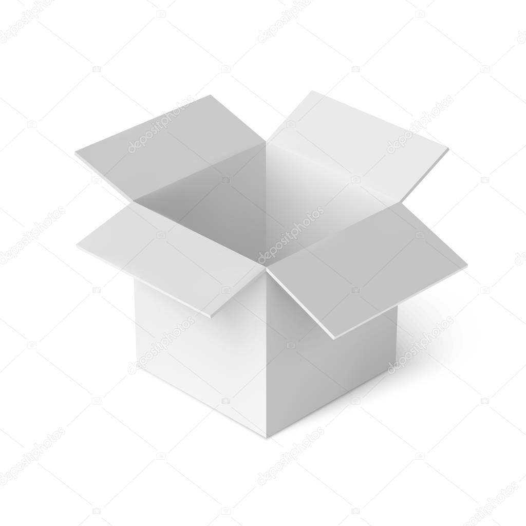 3d Open 3d Open White Box Realistic Package Cardboard Box Vector