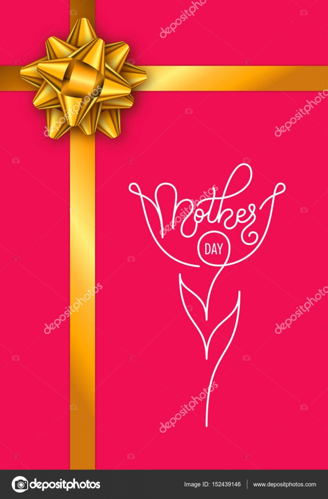 Holiday gift card with hand lettering Mothers Day and golden bow on
