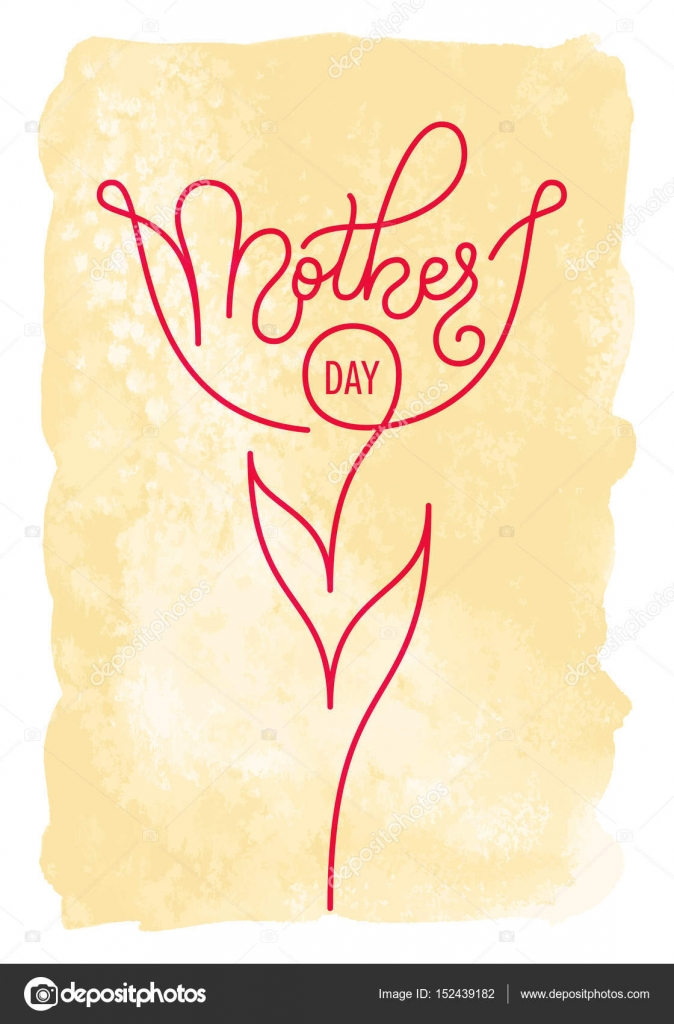 Holiday gift card with hand lettering Mothers Day on a vintage