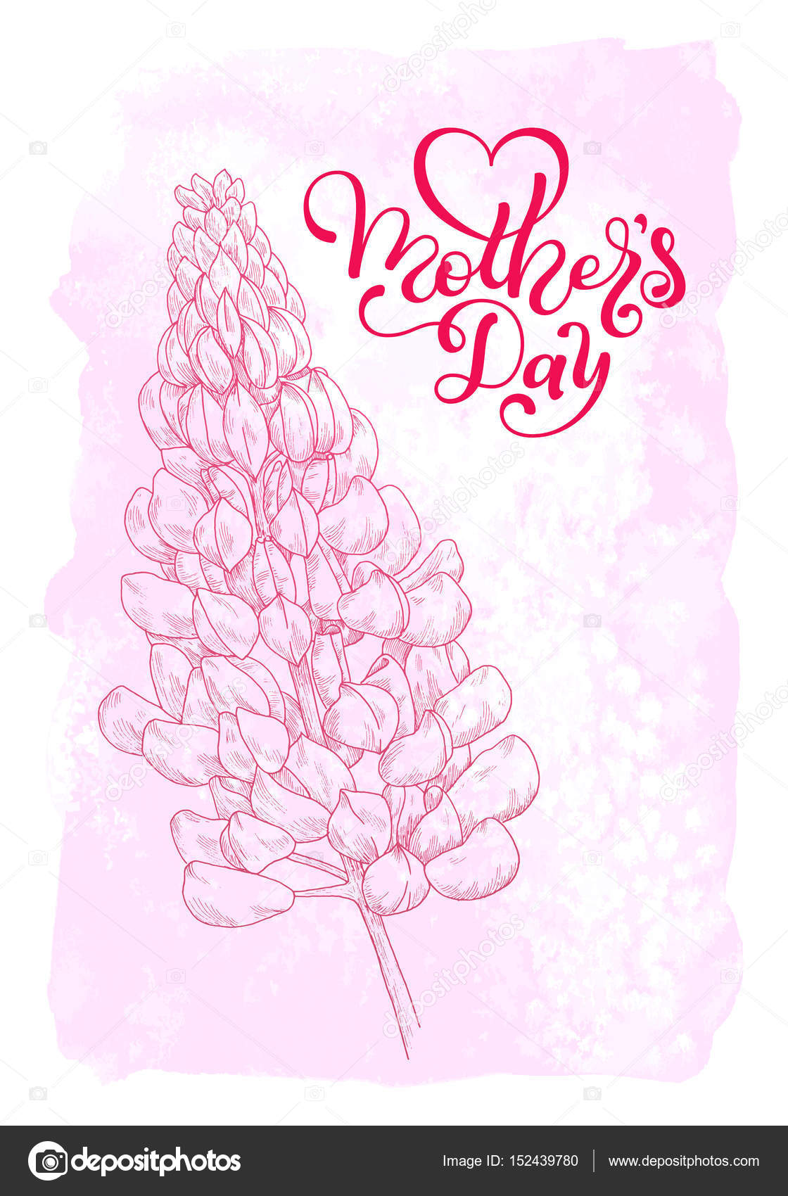 Holiday gift card with hand lettering Mothers Dayon a pink