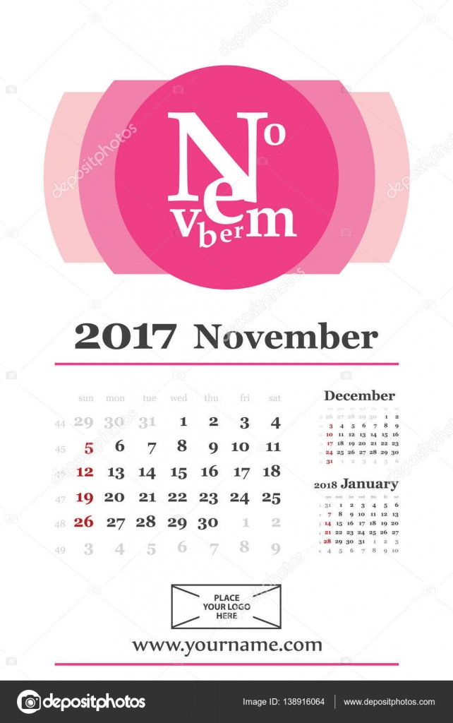 Creative calendar november 2017 with composition of letters \u2014 Stock