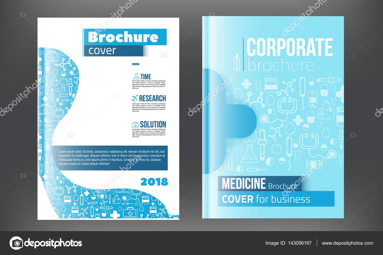Medical Brochure Design Template Flyer with inline medicine icons - medical brochure