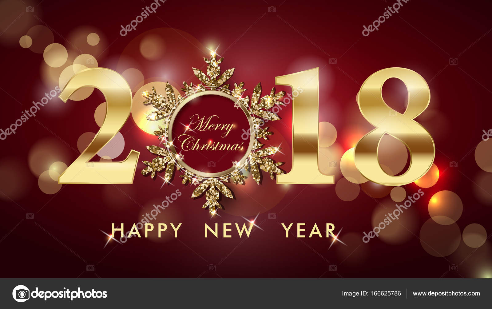 2018 Happy New Year background with gold snowflakes  Christmas And