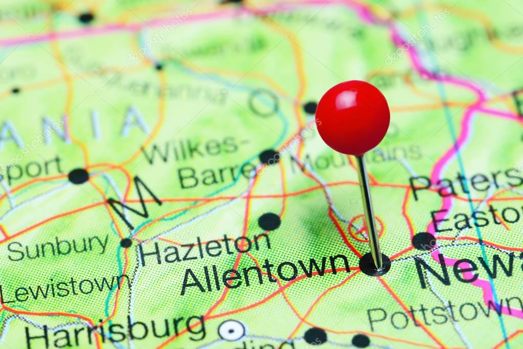 Allentown pinned on a map of Pennsylvania, USA \u2014 Stock Photo