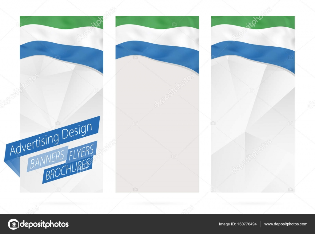 Design of banners, flyers, brochures with flag of Sierra Leone