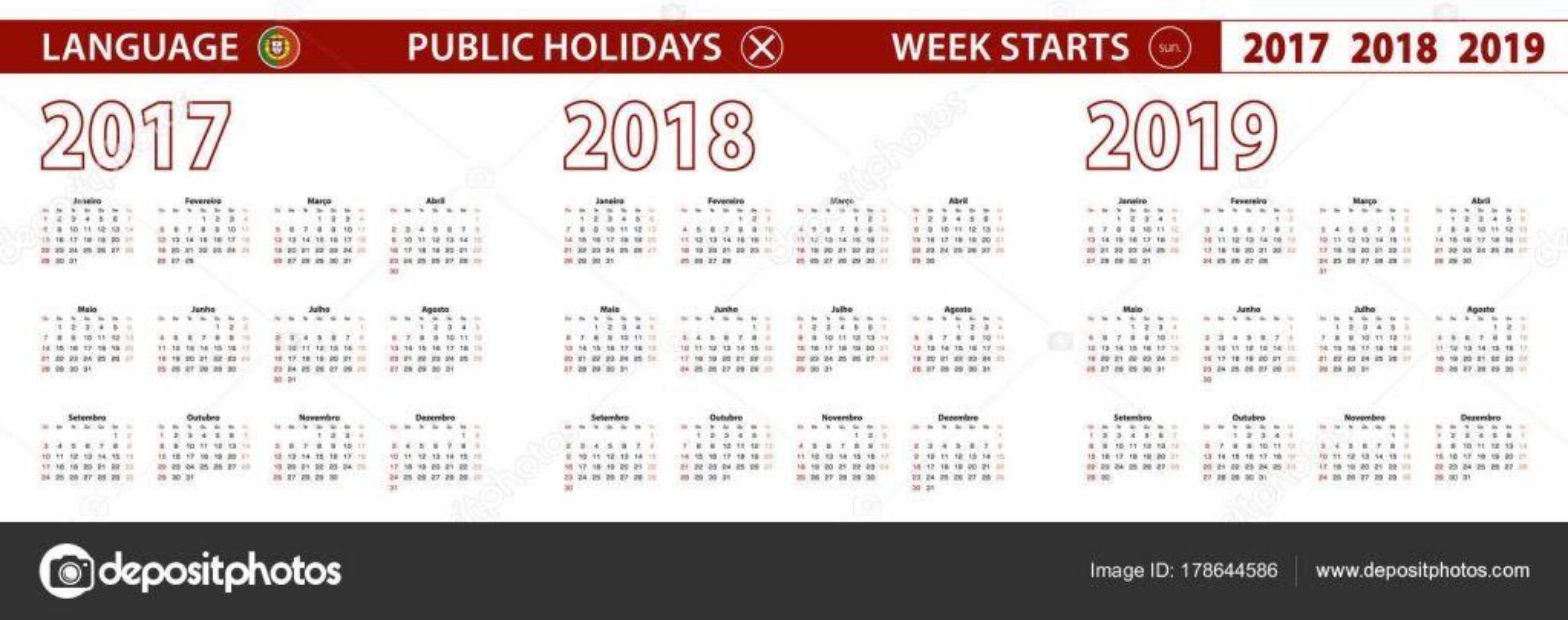 Feriados portugal 2018 2017, 2018, 2019 año vector calendario en