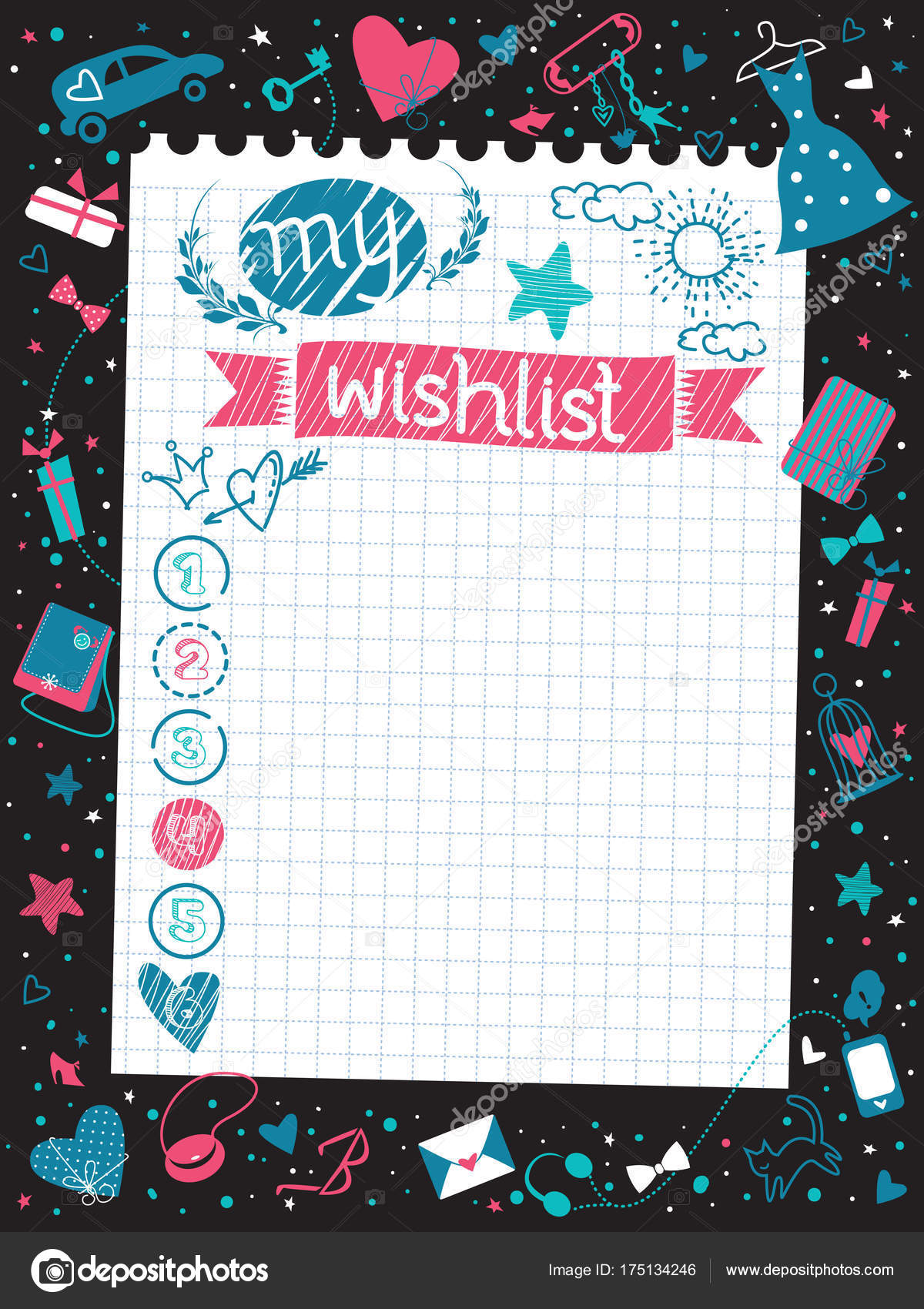Stylish Inspirational Wishlist Note Paper Gifts Vector Lovely - christmas wish list paper
