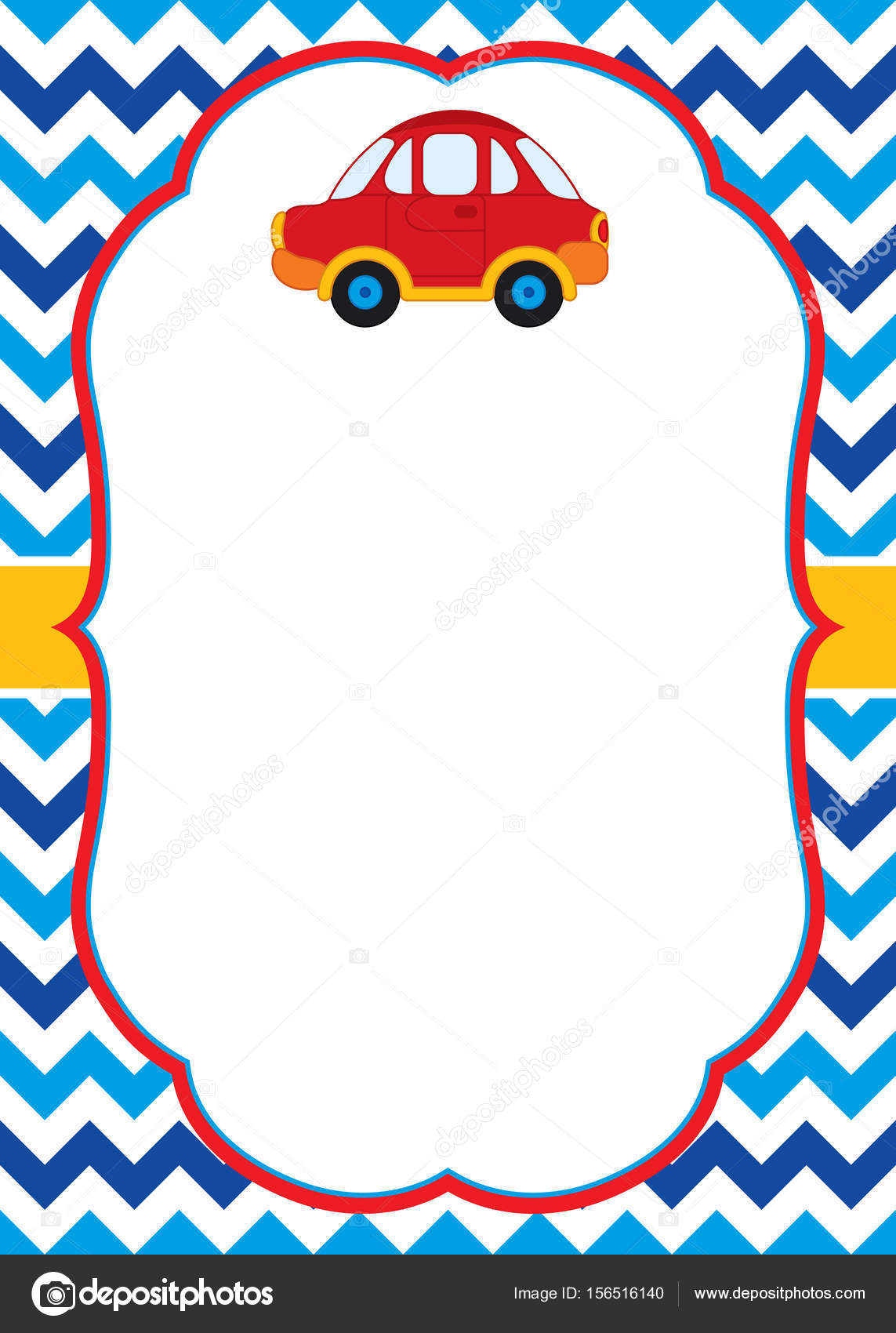 Vector Card Template with a Colorful Car on Chevron Background