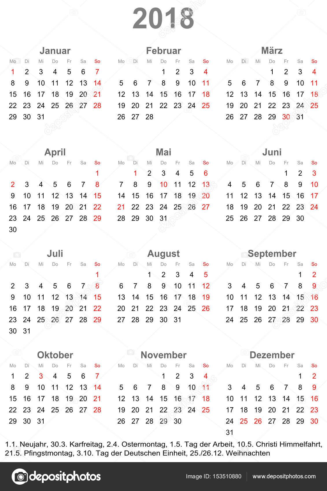 Egyszerű naptár 2018-a Németország számára munkaszüneti \u2014 Stock