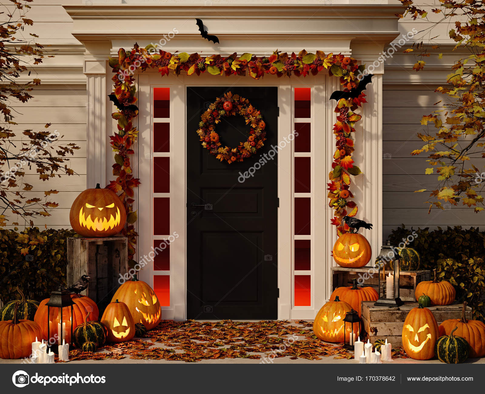 Casas Decoradas De Halloween Casa Con Calabazas De Halloween Decoradas Render 3d Fotos De