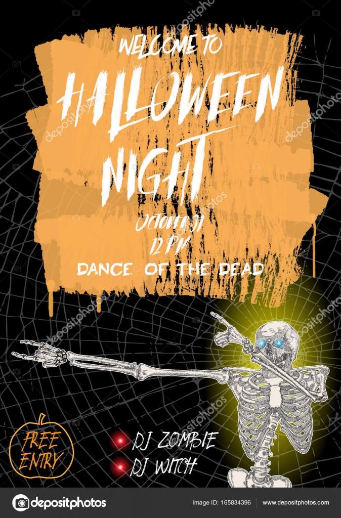 Halloween vertical background with skeletons dancing DAB \u2014 Stock
