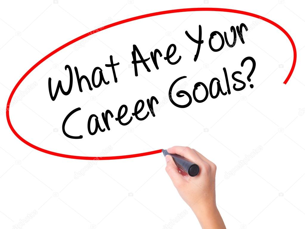 Women Hand writing What Are Your Career Goals? with black marker