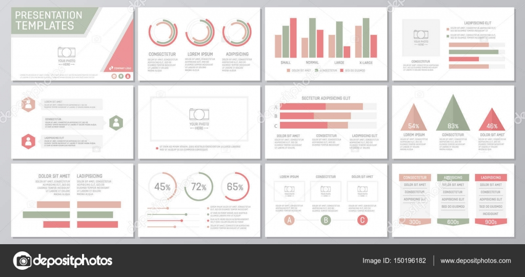 Set of green and red elements for multipurpose presentation template