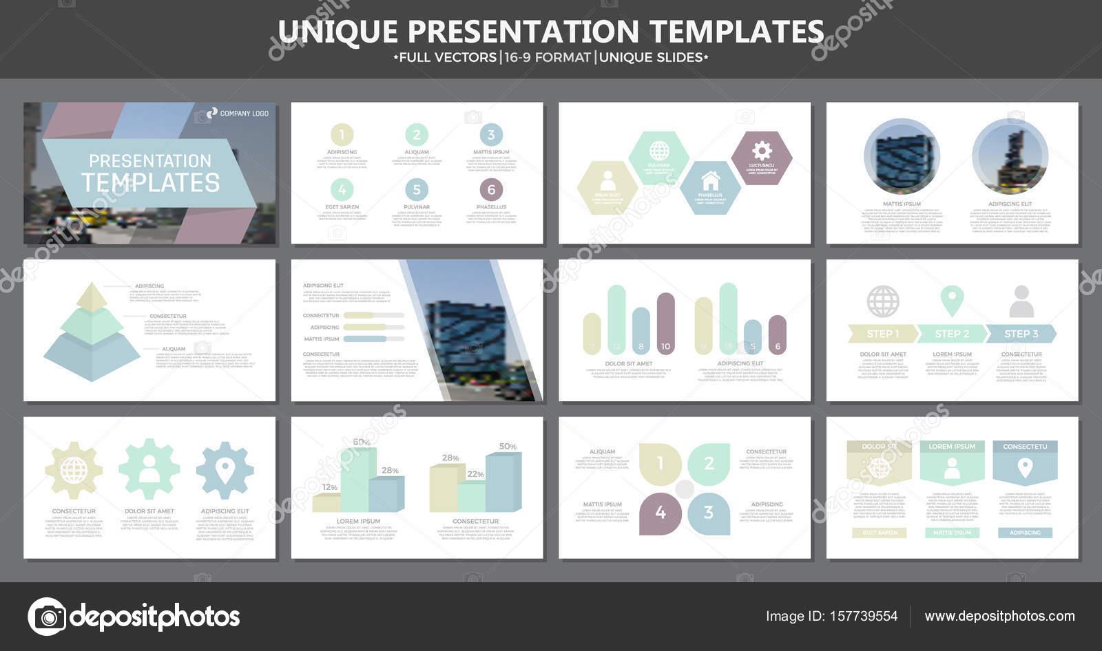 Set of multi colour elements for multipurpose presentation template