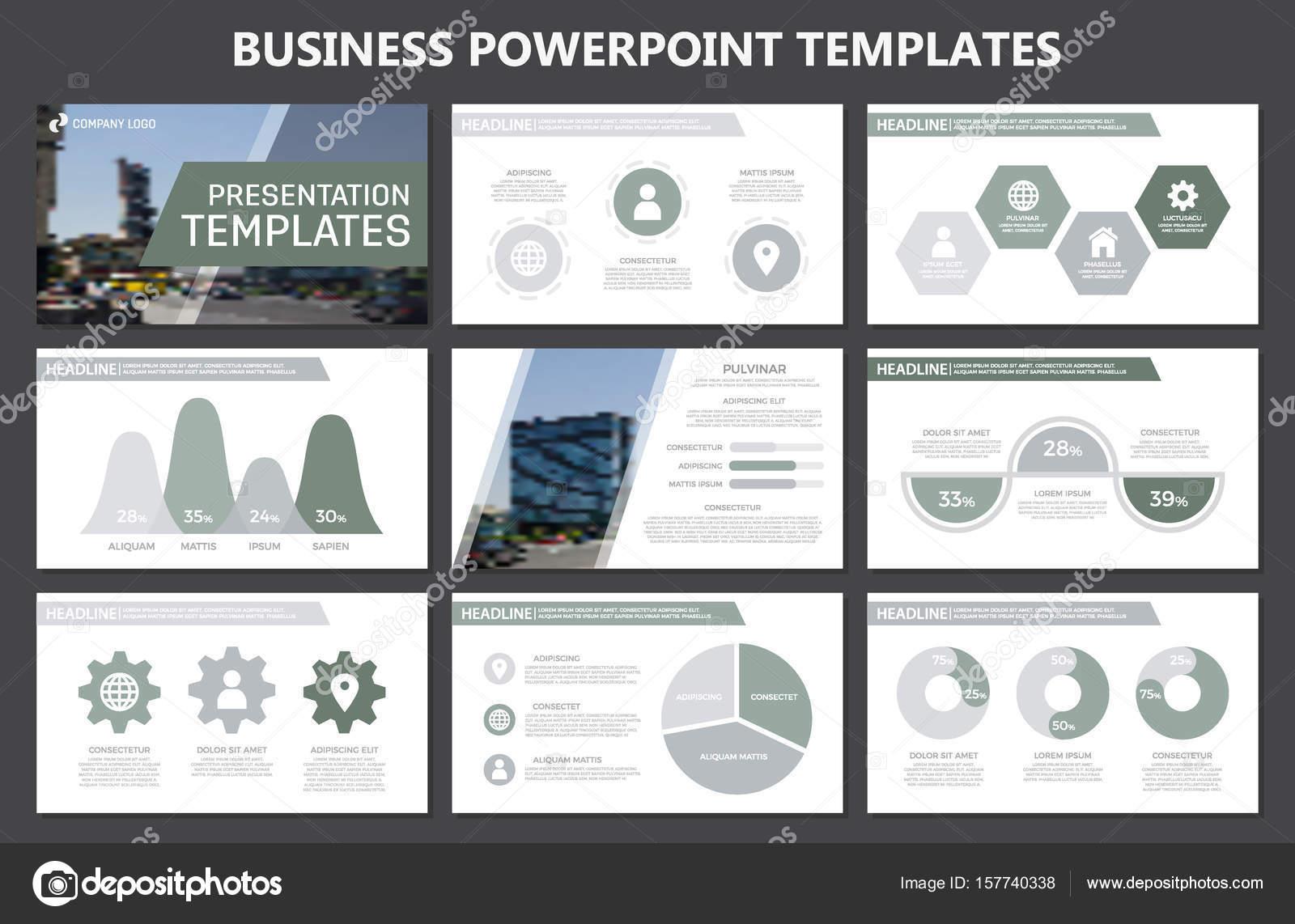 Set of gray elements for multipurpose presentation template slides