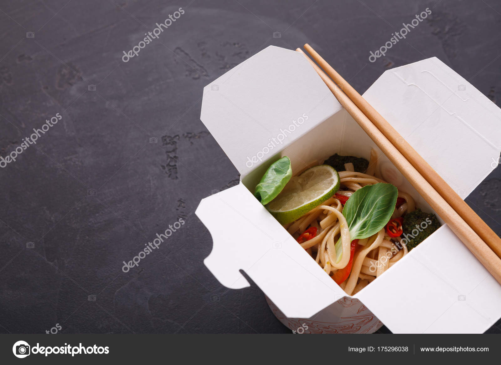 Pho Delivery Asian Food In Delivery Box On Gray Background Stock Photo