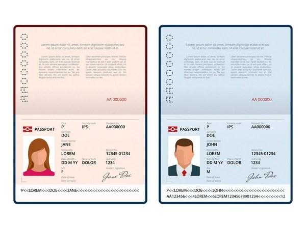 Blank open passport template isolated vector illustration \u2014 Stock - passport template