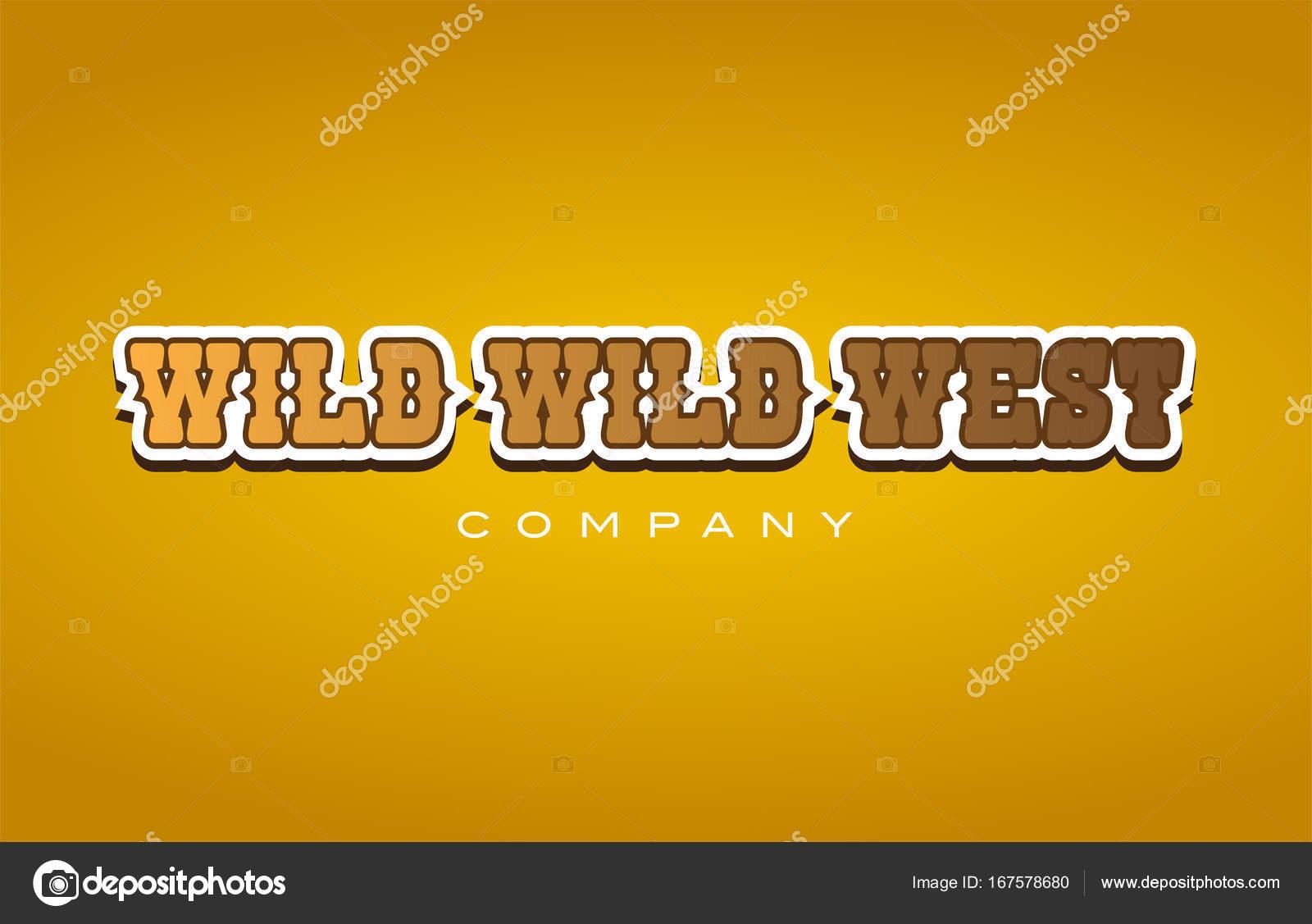 wild wild west western style word text logo design icon company