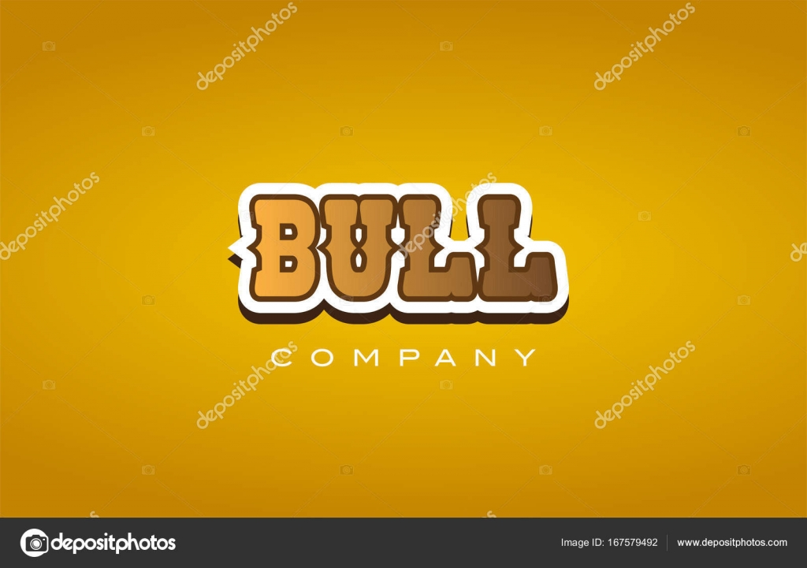 bull western style word text logo design icon company \u2014 Stock Vector