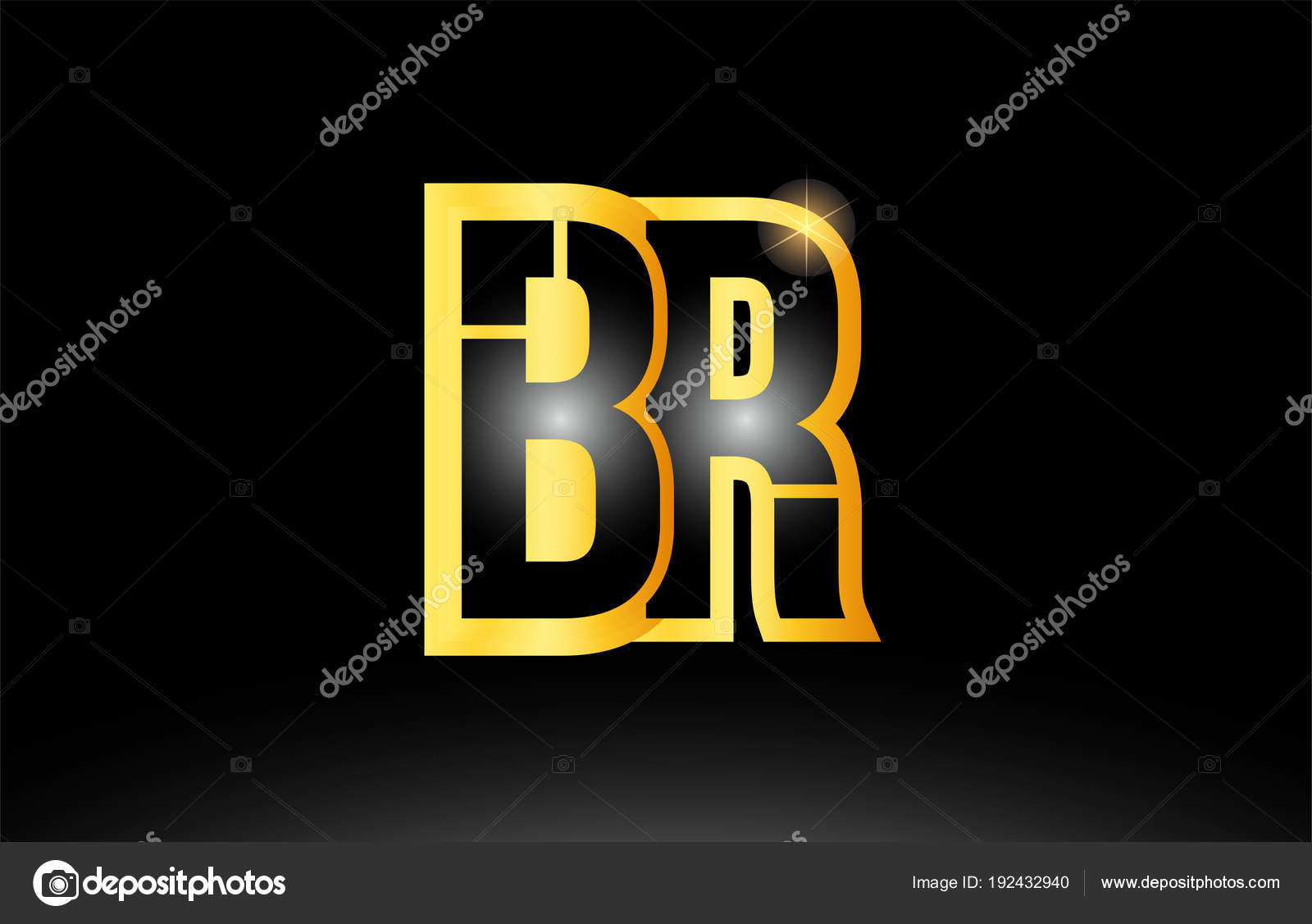 / Br Gold Black Alphabet Letter Br B R Logo Combination Icon