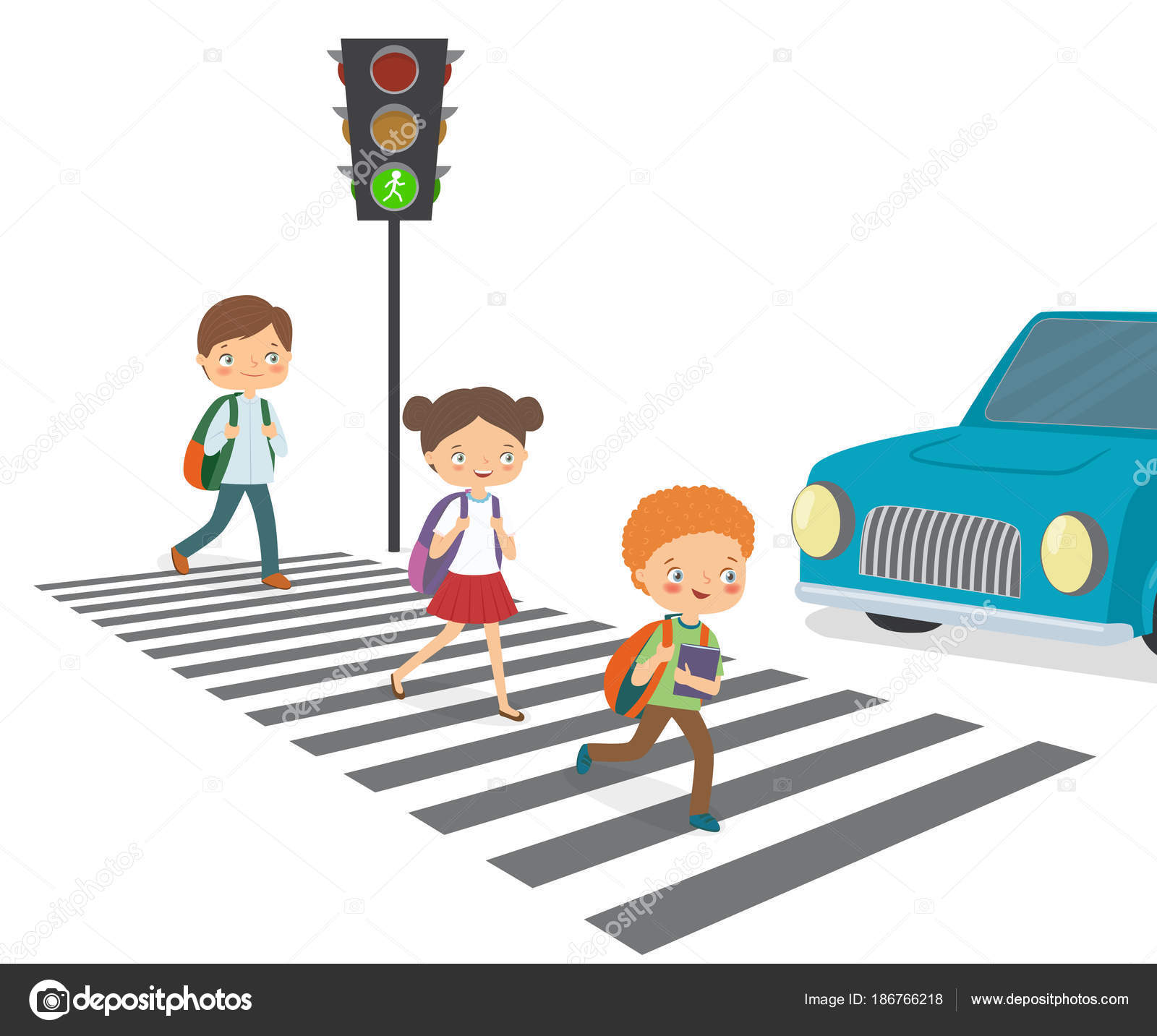 Road Crossing Clipart Children Cross The Road To A Green Traffic Light Stock