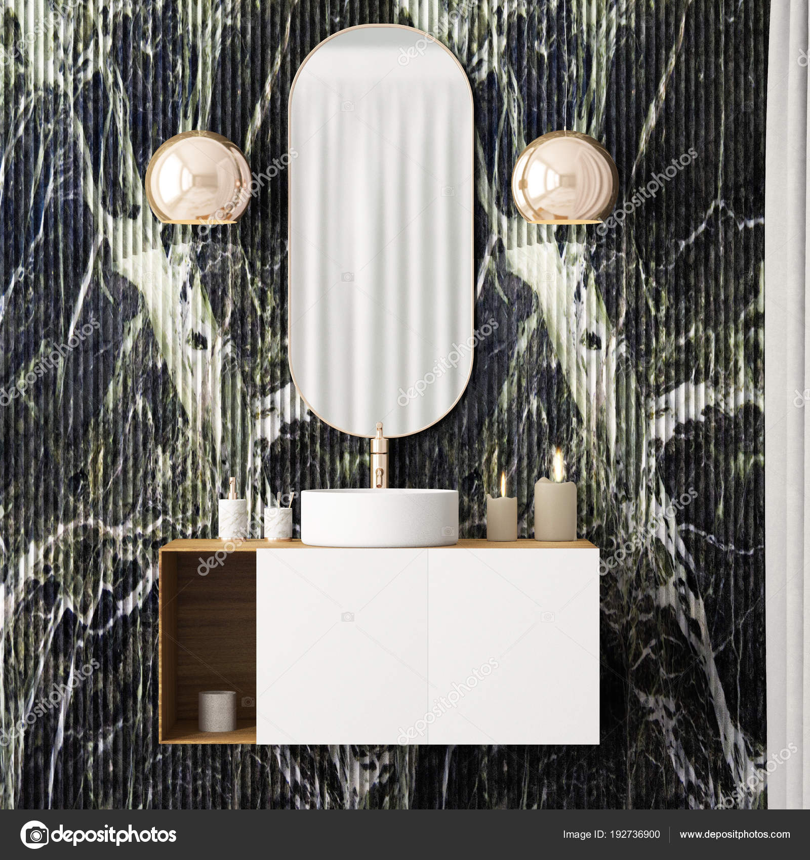 Art Deco Style Mirror Bathroom Interior Mirror Art Deco Style Stock Photo