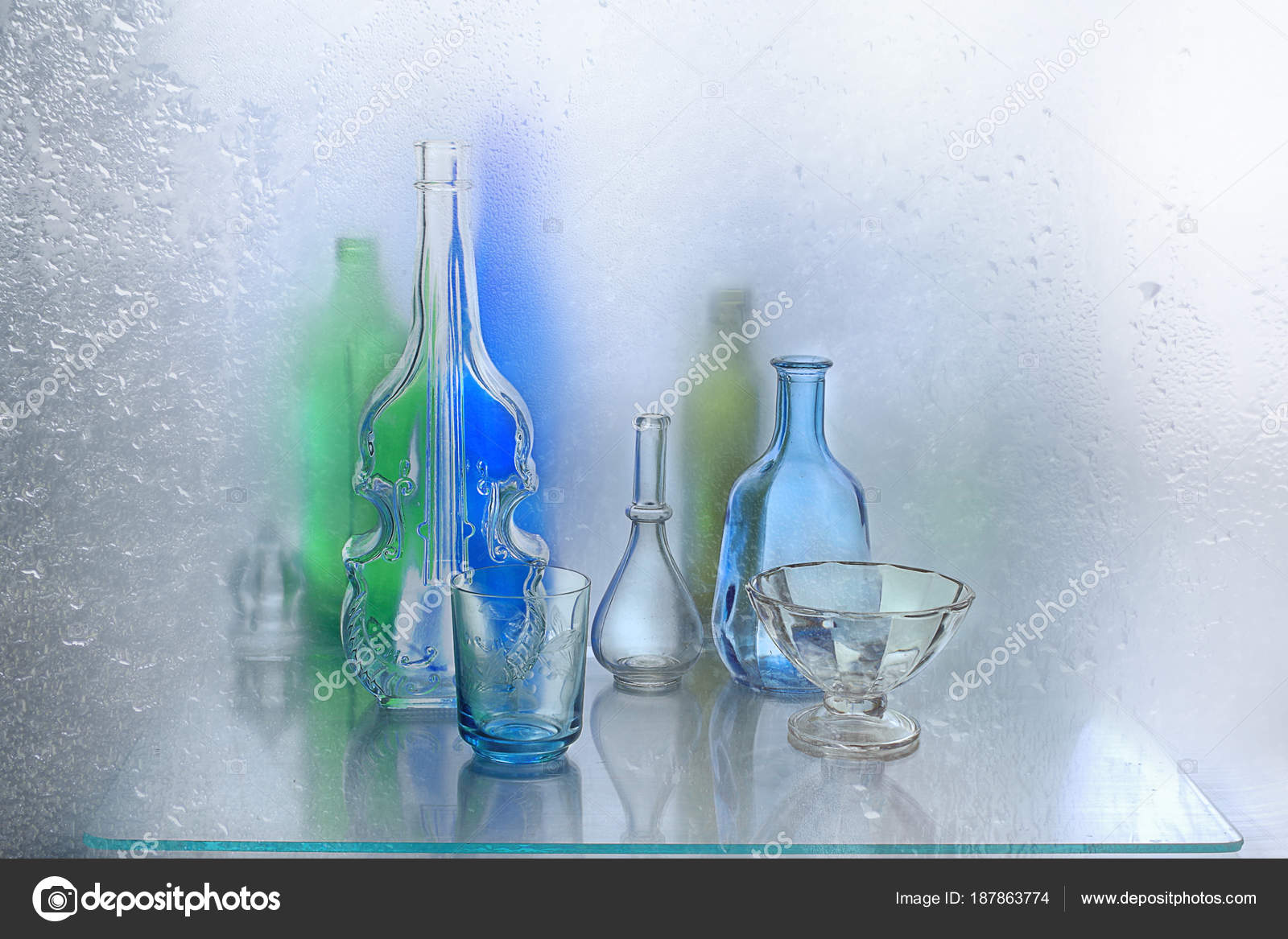 Interesting Bottles Glass Vases Bottles Interesting Lying Window Sill Isolated Light