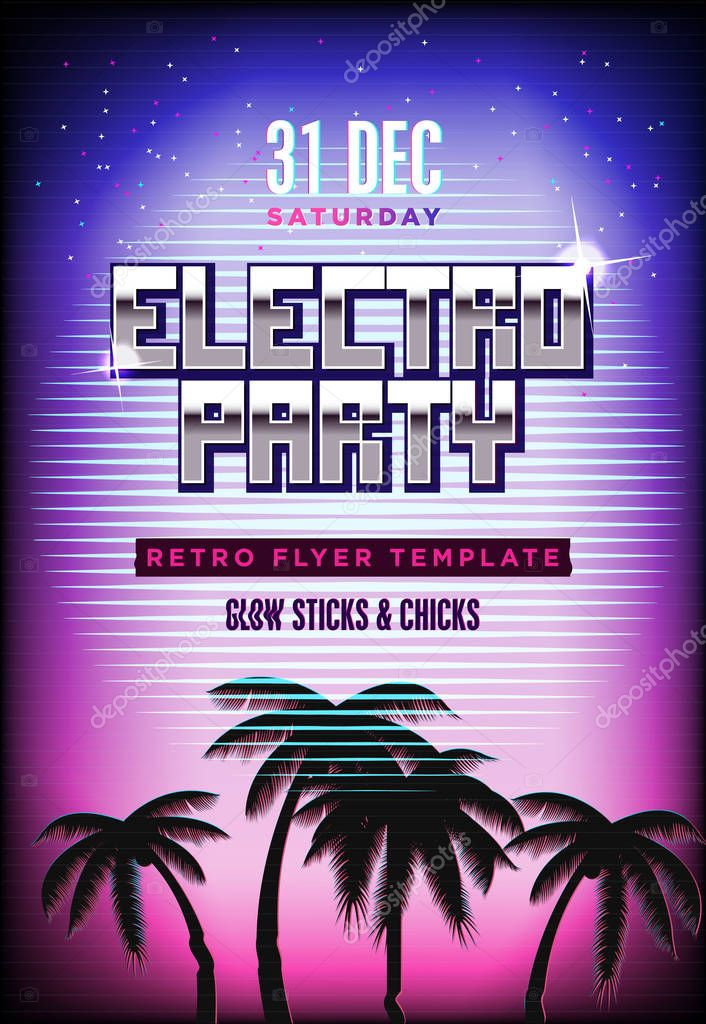 Electro party poster Retro 80s neon background Disco flyer - electro flyer